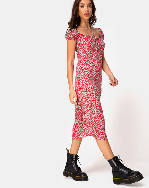Milla Dress in Ditsy Rose Red Silver by Motel