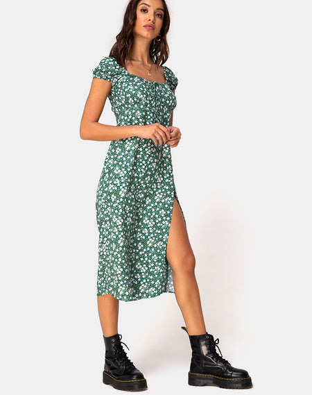 Cello Midi Dress in Pretty Petal Green