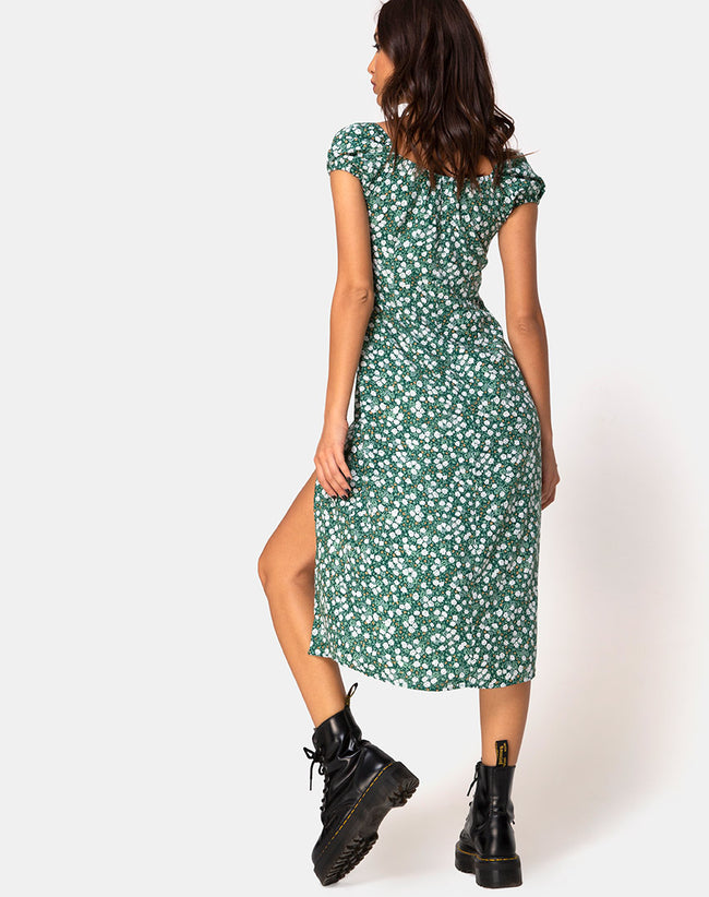 Milla Dress in Floral Field Green by Motel