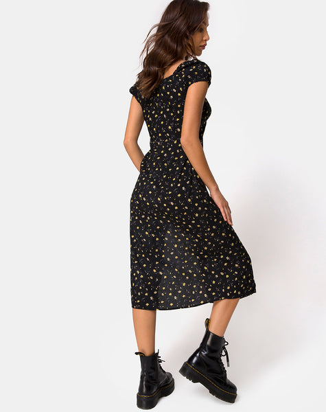 Milla Midi Dress in Pretty Petal Black by Motel