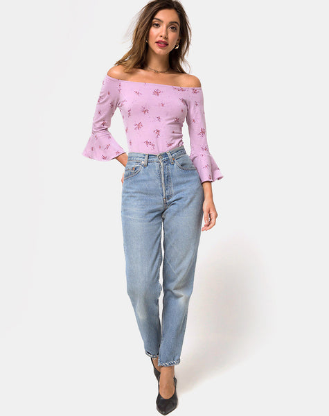 Mingga Off The Shoulder Top in Forget Me Not Lilac by Motel
