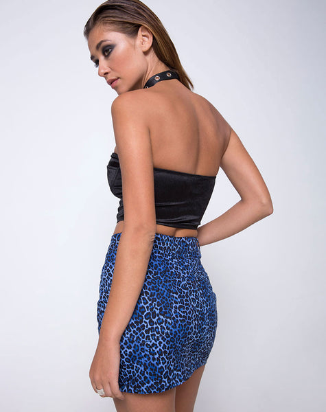 Mini Broomy Skirt in Leopard Royal Blue by Motel