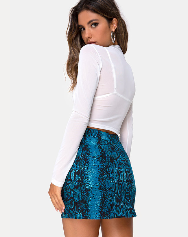Mini Broomy Skirt in Snake Blue by Motel