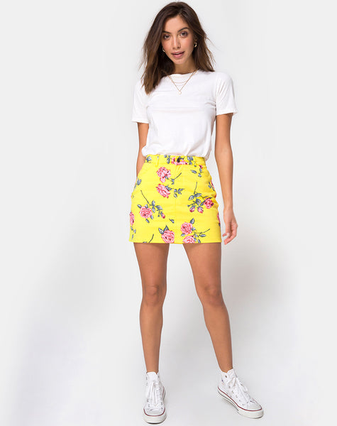 Mini Broomy Skirt in Candy Rose Yellow by Motel