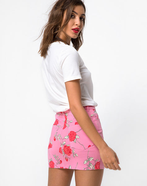 Mini Broomy Skirt in Candy Rose by Motel