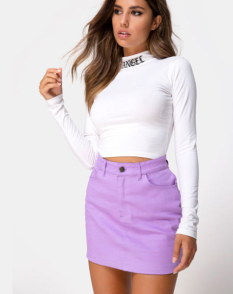 Mini Broomy Skirt in Lilac by Motel
