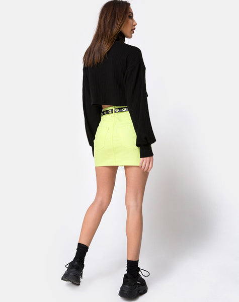 Mini Broomy Skirt in Lime by Motel