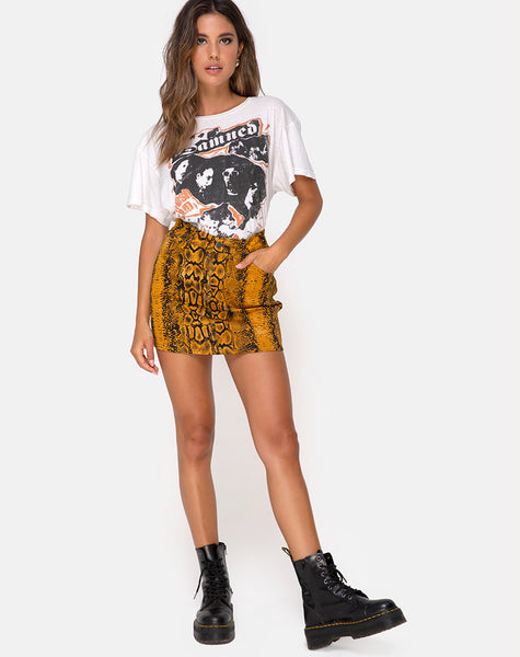 Mini Broomy Skirt in Snake Mustard by Motel