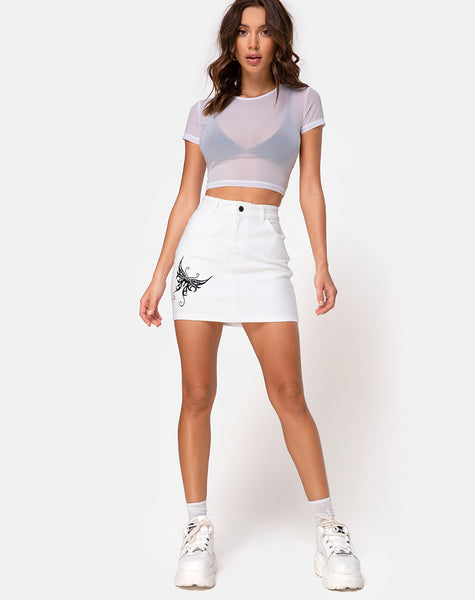 Mini Broomy Skirt in White w/ Butterfly Black Embro by Motel