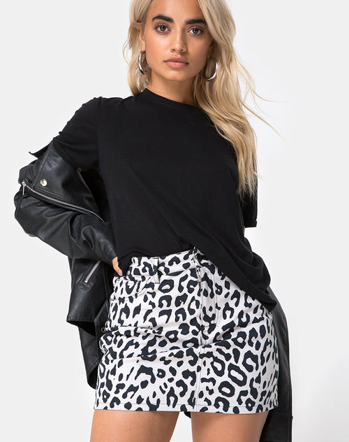 ec0a34acabed Mini Broomy Skirt in Mono Animal Grey and White by Motel