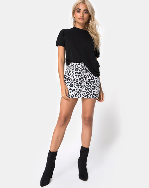 Mini Broomy Skirt in Mono Animal Grey and White by Motel