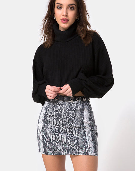 Broomy Skirt in Grey Rar Leopard Print By Motel