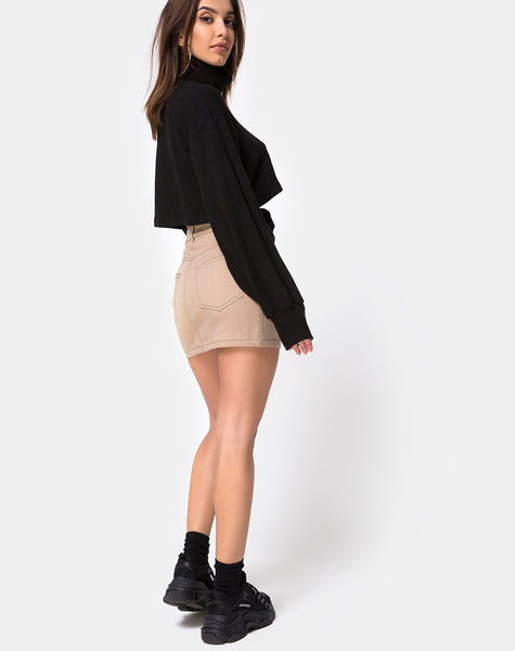 Mini Broomy Skirt in Tan with Black Stitch by Motel