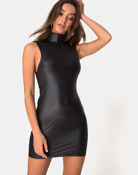 Mega Bodycon Dress in Croc Flock Black