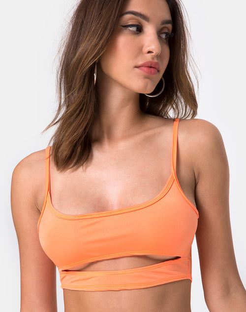 Misho Crop Top in Fluro Orange by Motel