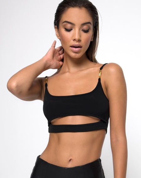 Knotie Longsleeve Crop Top in Black by Motel