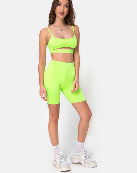 Misho Crop Top in Fluro Green