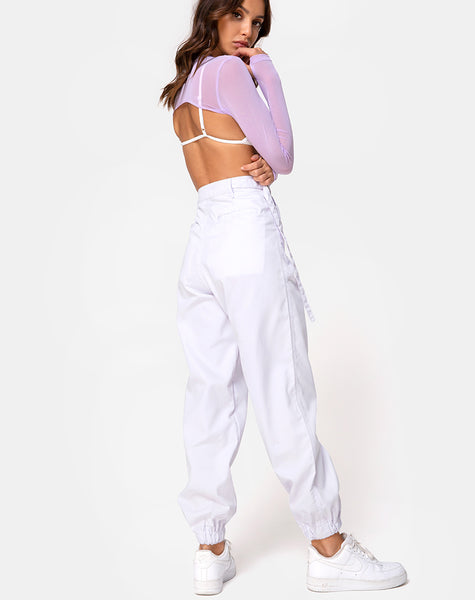 Mola Crop Top in Net Lilac by Motel