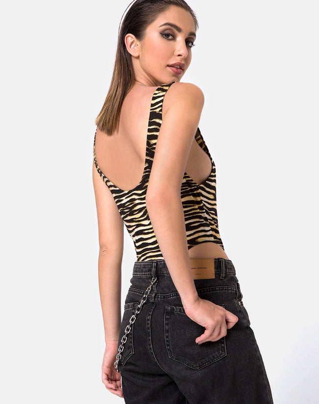 Molemo Plunge Bodice in Zip's Zebra Brown By Motel