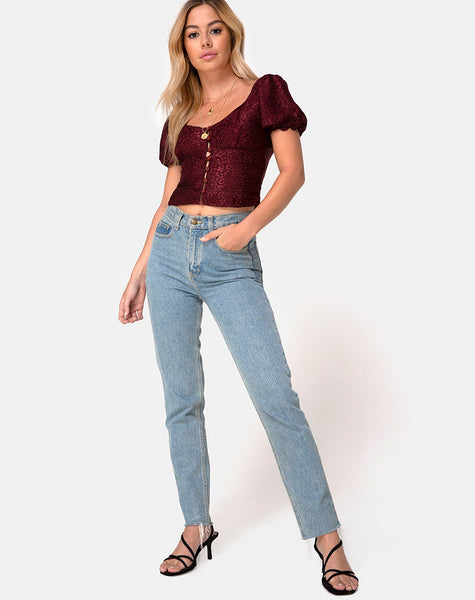 Monda Top in Satin Cheetah Burgundy by Motel