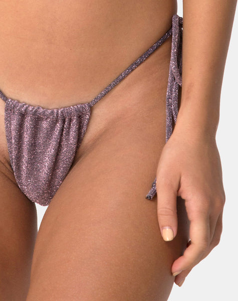 Mone Bikini Bottom in Gunmetal Glitter by Motel