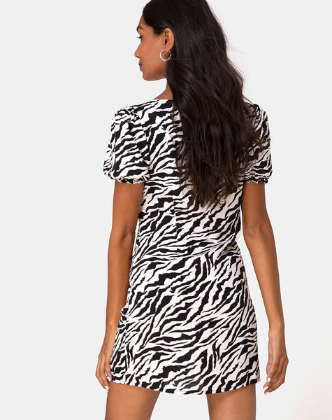 Montero Mini Dress in 90's Zebra by Motel