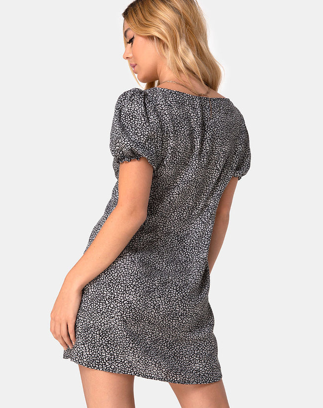 Montero Dress in Ditsy Leopard Grey by Motel