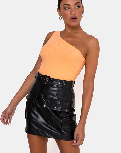 Moretti PU Skirt in Black by Motel