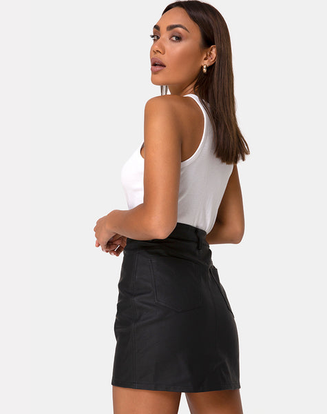 Mori Skirt in PU Black by Motel