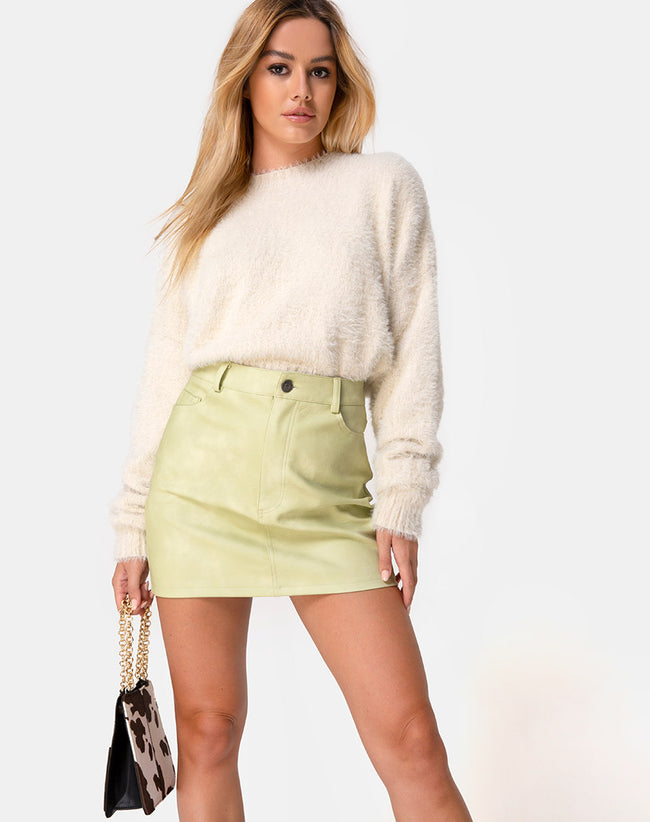 Mori Skirt in PU Light Green by Motel