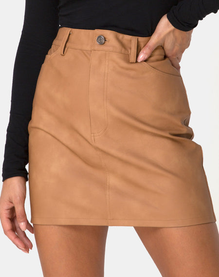 Mini Broomy Skirt in Mix Stripe Brown by Motel