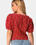 Moria Top in Falling For You Floral Red by Motel