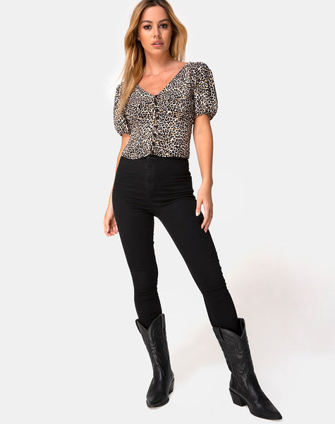Moria Top in Rar Leopard Brown