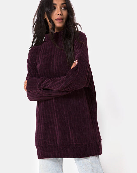 Neve Oversize Jumper Dress in Chenille Plum by Motel