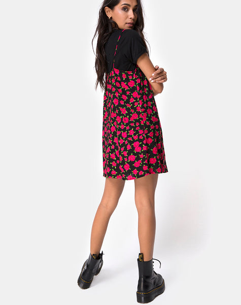 Sanna Slip Dress in Red Bloom By Motel