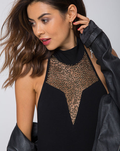 Myla Bodice in Glitter Net Animal Black by Motel