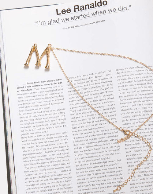 Necklace in Gold Letter M by Motel