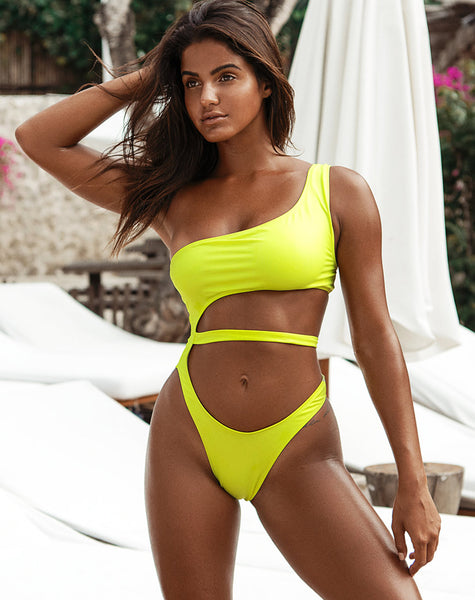 9f2f9fb893234 Vixie Cutout Swimsuit in Coated Lime by Motel – motelrocks.com