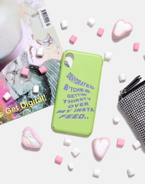 Phone Case in Matte Lime with Instafeed Text by Motel X Top Girl