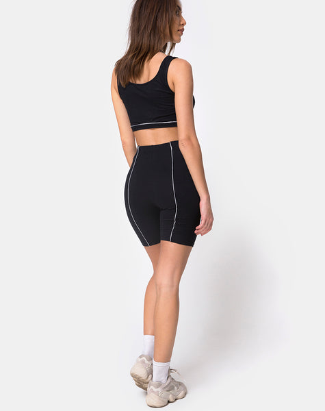 Neho Cycle Short in Black with Piping Line by Motel