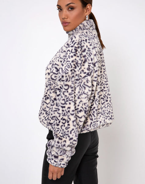 Nero Ring Pull Jacket in White Leopard by Motel