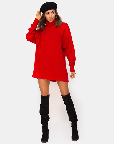 Neve High Neck Dress in Red