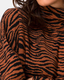 Neivie Roll Neck Jumper in Tiger Knit Brown
