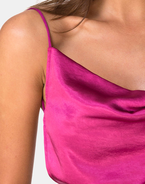 Ning Top in Satin Magenta by Motel