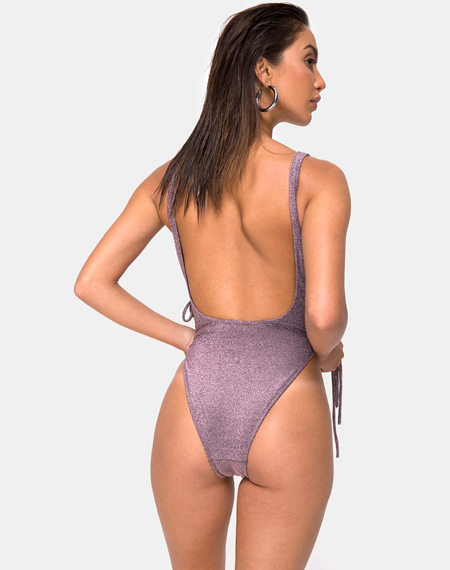 Nishi Swimsuit in Gunmetal Glitter by Motel
