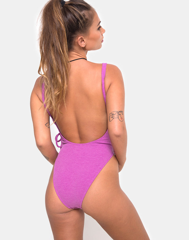 Nishi Swimsuit in Crinkle Rib Violet by Motel