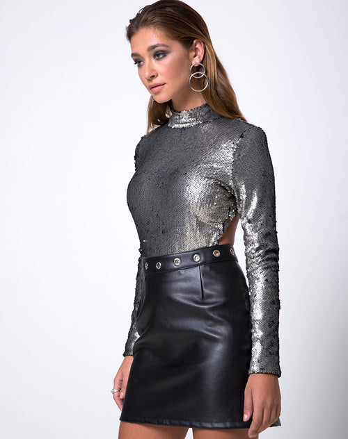 Nix Bodice in Fishcale Matte Sequin Silver by Motel