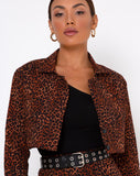 Noly Cropped Blazer in Ditsy Leopard Orange by Motel