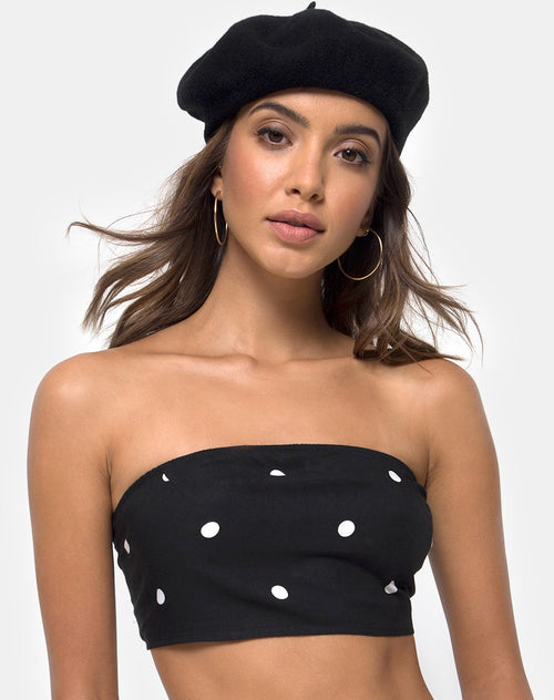 Nolia Tube Top in Black and White Polkadot by Motel