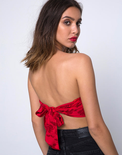 Nolia Tube Top in Tonal Floral Red by Motel